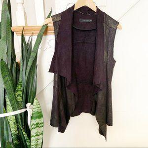 Zara black metallic gold drape front vest sz S